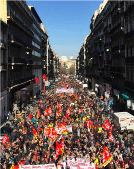 The March 22 protest in Paris over cuts, labour rights and privatisation. Photo: Twitter/@JLMelenchon