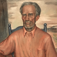 """Tenant Farmer,"" 1935, by Marie Atkinson Hull (1890-1980), at New Orleans' wonderful Ogden Museum of Southern Art. It is important in going forward to recognize that our political roots in part involve inadequate confrontation of agrarian injustice, which still goes on today."