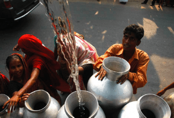 Public water distribution in Shimla, a small town in the Himalayan foothills in India