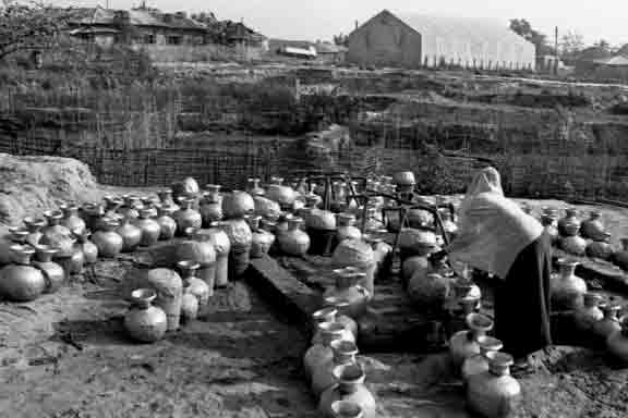 Water containers waiting to be filled