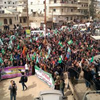 Womens demonstration at courtyard in Afrin