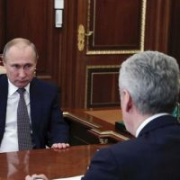 Vladimir Putin (L) and Moscow Mayor, Sergei Sobyanin