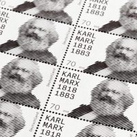 Karl Marx bithday postage stamp Germany design dezeen hero.