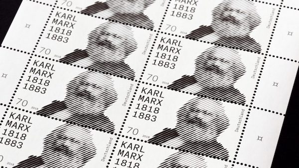 Karl Marx bithday postage stamp Germany design dezeen hero.