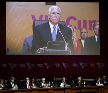U.S. Vice President Mike Pence speaks at the plenary session of the Americas Summit in Lima, Peru, Saturday, April 14, 2018.(AP Photo/Karel Navarro)