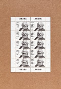 Page of Karl Marx stamps.