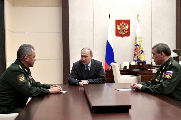 President Putin meeting with Sergei Shoigu and Valery Gerasimov