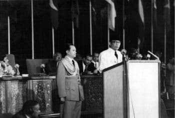 Indonesian President Sukarno giving the opening address