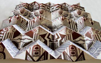 """Metabolic Rift"" by Eveline Kolijn, Linocut on folded paper, 2016"