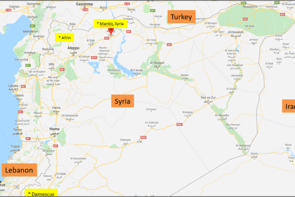 Map of Syria showing cities of Manbij (orange pointer) and Afrin