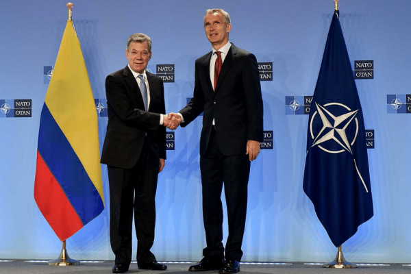 Secretary General Jens Stoltenberg hosted President Juan Manuel Santos of Colombia at NATO headquarters on May 31. Colombia has now become NATO's first member in Latin America. | NATO