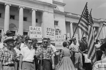A rally against the integration of Central High School in n Little Rock, Arkansas, 1959.