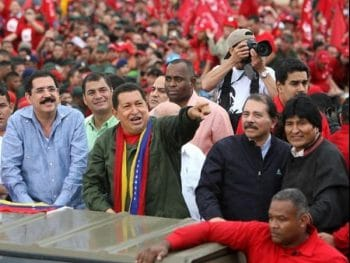 Latin American Presidents Zelaya (Honduras), Correa (Ecuador), Chavez (Venezuela), Ortega (Nicaragua), and Morales (Bolivia) celebrate Correa's inauguration for a second term, in Quito, Ecuador. (Prensa Presidencial)