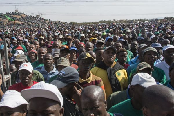 A huge crowd gathers to commemorate the Marikana massacre of August 16, 2012