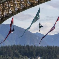 Climbers in Vancouver blockade Trans Mountain oil tanker's route