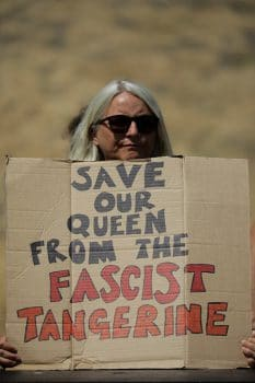 Anti Donald Trump demonstrator at Windsor Castle