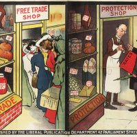 A Liberal Party poster encouraging Free Trade over Protectionism in London (c1905-c1910)
