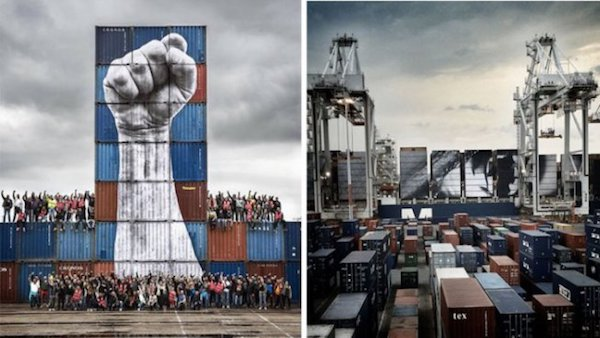 Image of Le Havre dock workers in France.
