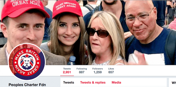 Make Britain Great Again's Twitter profile