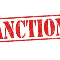 Sanctions grunge rubber stamp on white background, vector illustration