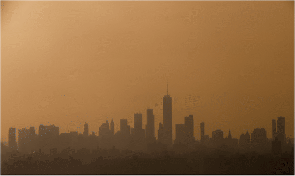 The skyline of Manhattan at sunset in New York, May 23, 2018. Photo: Saul Loeb/AFP/Getty Images