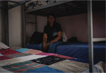 Migrant woman in a detention center