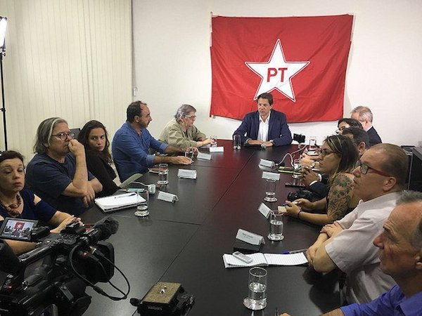 Haddad, a former minister of Education and now presidential candidate, took part in press conference at the Lula Institute in São Paulo : Handout: Instituto Lula