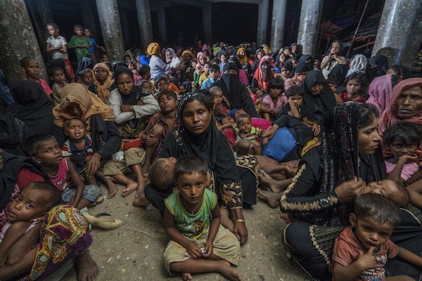 A cyclone shelter inhabited by Rohingya refugees