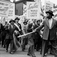 Workers march together during a 1946 May Day parade in New York City. Photo   Bettmann Archive
