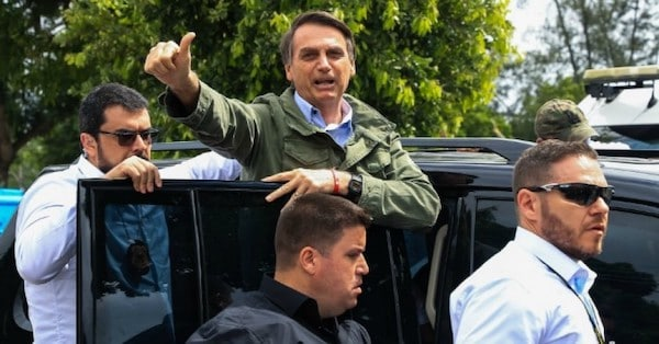 Jair Bolsonaro gestures after casting his vote during general elections on October 28, 2018 in Rio de Janeiro, Brazil. (Photo- Buda Mendes:Getty Images)