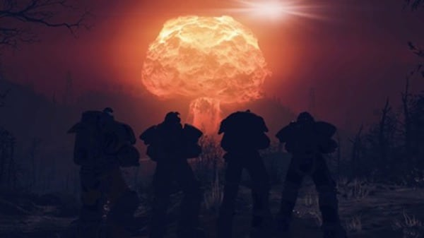 Players of Fallout 76 pose in front of their own home-made mushroom cloud. Image courtesy Bethesda.