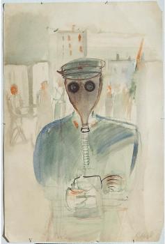 Soviet artist Alexander Labas, 'Wearing a Gas Mask' (1931).