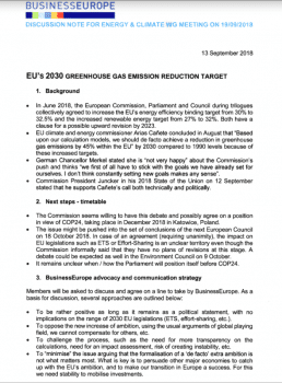 "Discussion note, produced ahead of a meeting on Wednesday, suggests members try positive messaging on climate action ""as long as it remains as a political statement, with no implications on the range of 2030 EU legislations."""