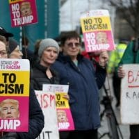 Anti-racism protesters outside Edinburgh International Conference Centre
