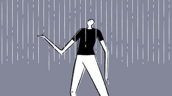 Man in rain (Artwork by Ben Anderson)