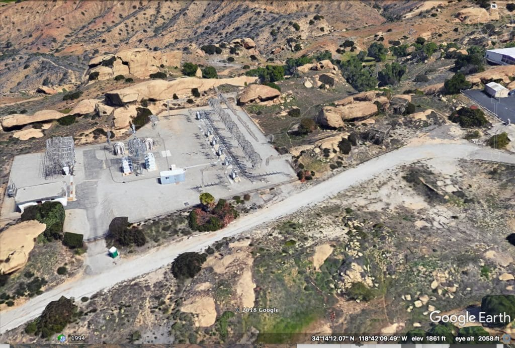 Close-up image of Chatsworth substation, just east of SRE partial meltdown site. (Photo Credit: Google Earth)