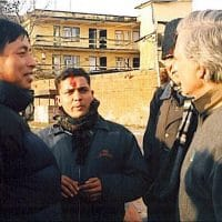 From left to right: Nepal Vice-President Nanda Kishor Pun (Comrade Pasang), Comrade Prayas (translator), MR author Bernard D'Mello, and Monthly Review Foundation Vice-President John Mage, in February 2007.