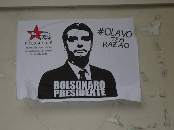 Far-right poster in support of Bolsonaro. It references Olavo de Carvalho, a proponent of the 'Cultural Marxism' conspiracy theory.