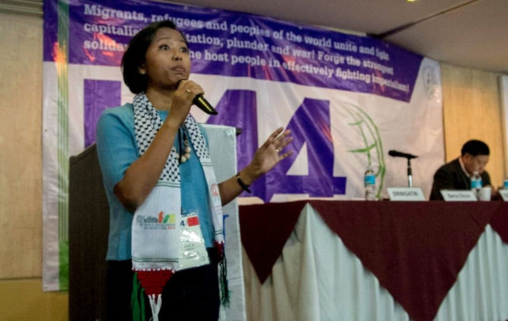 Indonesian migrant, domestic worker in Hong Kong, and IMA Chairperson Eni Lestari | Photo- IMA
