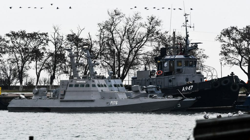 Three Ukrainian ships are seen as they docked after been seized ate Sunday, Nov. 25, 2018, in Kerch, Crimea, Nov. 26, 2018. Photo | AP