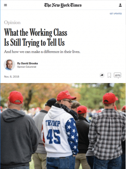 """Working-class voters tried to send a message in 2016, and they are still trying to send it,"" writes columnist David Brooks (New York Times, 11/8/18). By ""working class,"" he means ""white working class,"" since people making less than $100,000 voted decisively for Democrats in 2018."