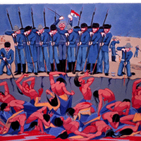 Image: Wounded Knee Massacre, Oscar Howe (1960), courtesy of the Oscar Howe Estate.