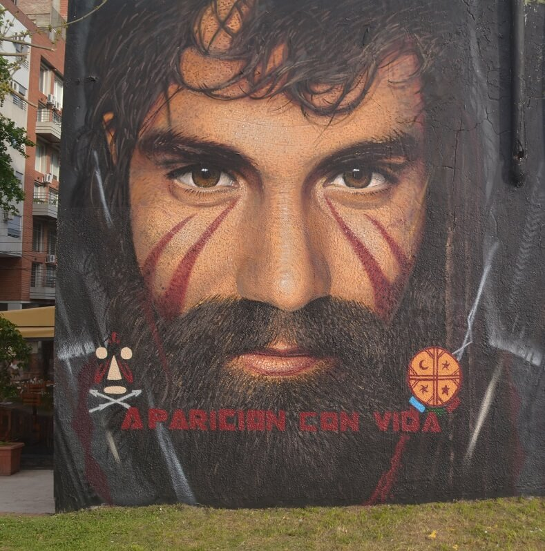 Santiago Maldonado, an Argentine activist who supported the struggle of the Mapuche people and was murdered by Argentina's state security forces.