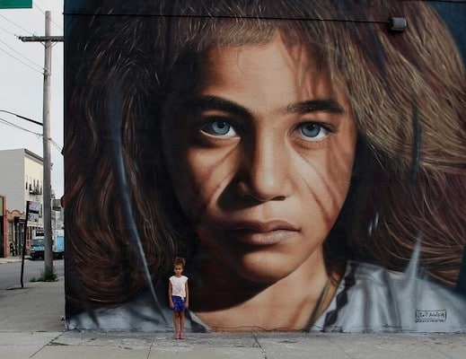 """""""Graffiti is the voice of protest and popular anger that from the ghettos of the big metropolis demand being heard,"""" Jorit told teleSUR English. Photo:Jorit"""