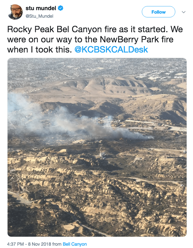 The location of the smoke plume and fire. (Photo Credit: Twitter)