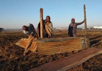 | 12 May 2018 Occupiers building a shack on Saturday morning Dennis Webster New Frame | MR Online