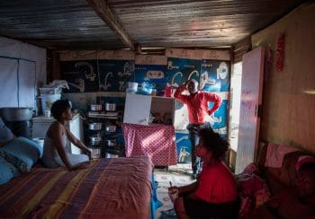 29 May 2018: Mqapheli Bonono, an elected member of Abahlali baseMjondolo's interim national council, speaking to residents of a shack in the Enkanini settlement in Cato Manor, Durban. Madelene Cronjé / New Frame
