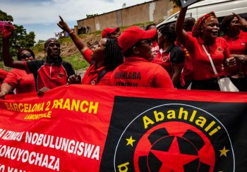 1 December 2018: People in the eNkanini settlement in Cato Manor were celebrating the opening of a new hall built with money raised by them and with Abahlali's support. Giovanni Porzio