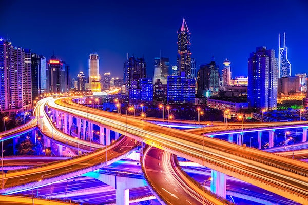 EHW4TG beautiful interchange overpass and city skyline. Image shot 12/2013. Exact date unknown.