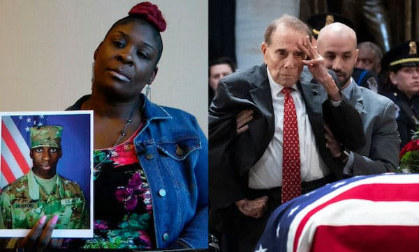 April Pipkins (left) holds a picture of her son Emantic Bradford Jr. Bob Dole (right) salutes the casket of President George H. W. Bush Photo: Jay Reeves/Drew Angerer (AP Images/Getty Images)